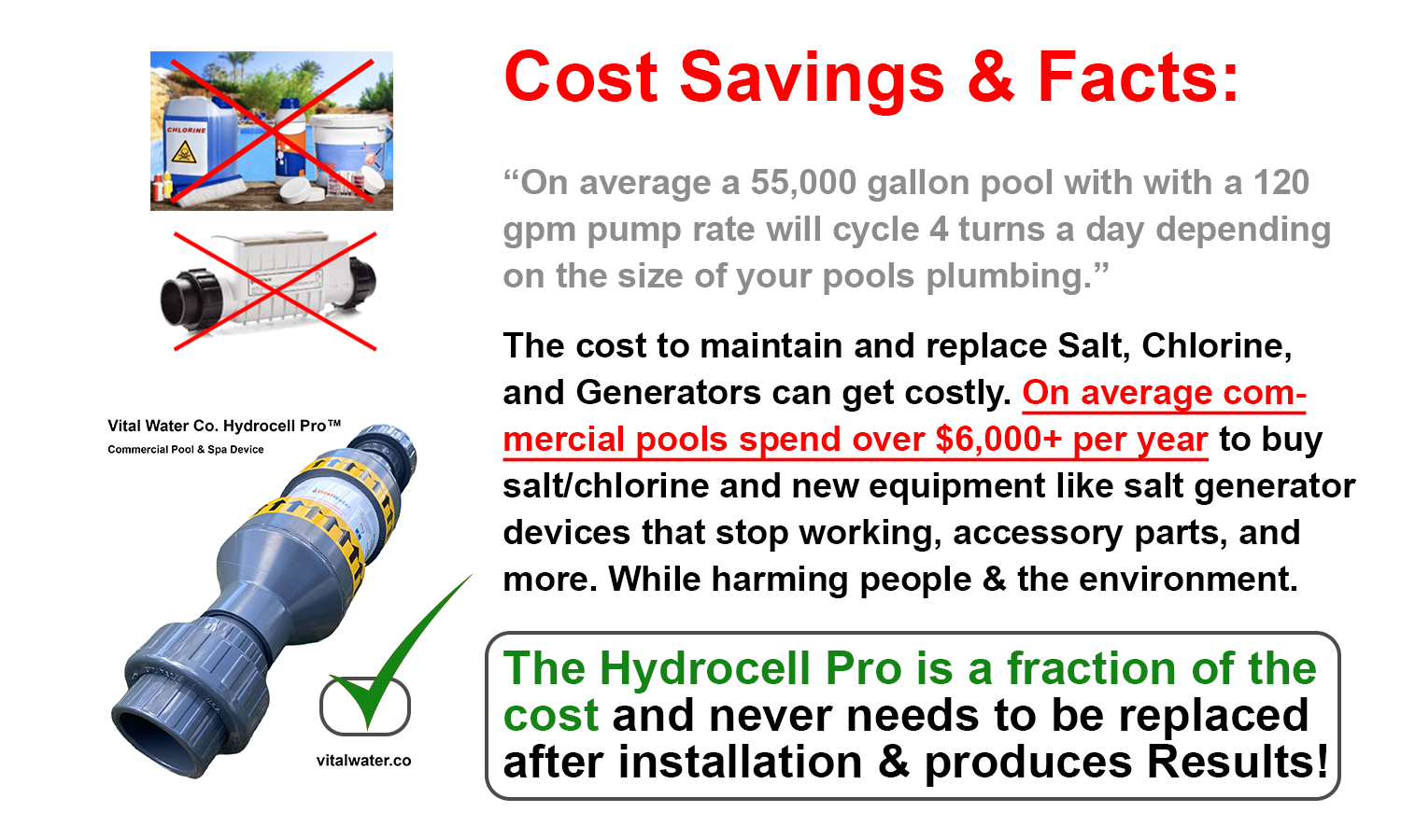 cost savings for pools and spas with vital water company hydrocell pro commercial pool device